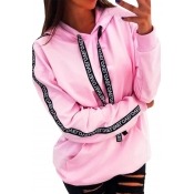 Lovely Casual Hooded Collar Letter Printed Pink Ho