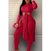 Lovely Leisure Turtleneck Knot Design Wine Red Two