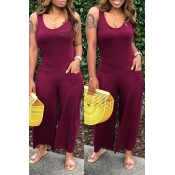 Lovely Casual Pocket Patched Wine Red One-piece Jumpsuit