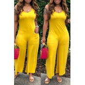 Lovely Casual Pocket Patched Yellow One-piece Jump