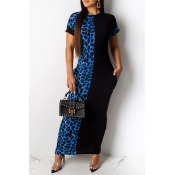 Lovely Casual Leopard Printed Patchwork Blue Ankle Length Dress