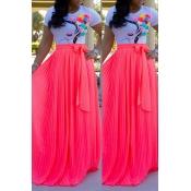 Lovely Casual Ruffle Design Rose Red Skirt