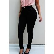 Lovely Work Buttons Design Black Jeans
