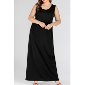 Lovely Casual Sleeveless Black Ankle Length Plus S