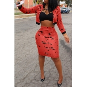 Lovely Stylish Zipper Design Printed Red Two-piece Skirt Set