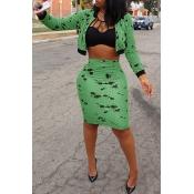 Lovely Stylish Zipper Design Printed Green Two-piece Skirt Set