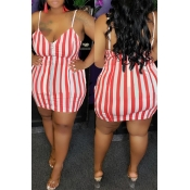 Lovely Casual Spaghetti Straps Striped Red Plus Si