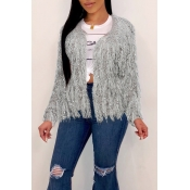 Lovely Leisure Tassel Design Grey Cardigans