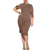 Lovely Trendy Ruffle Design Coffee Knee Length Plu