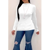 Lovely Trendy O Neck Skinny White Sweaters