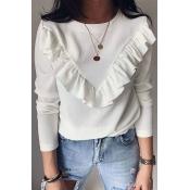 Lovely Casual Flounce Design White Blouse