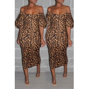 Lovely Sweet Leopard Printed Multicolor Mid Calf Dress