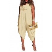 Lovely Casual Sleeveless Loose Light Yellow Plus S