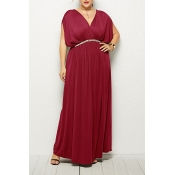 Lovely Casual V Neck Sleeveless Wine Red Ankle Len