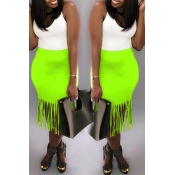 Lovely Sweet Tassel Design Green  Mid Calf Skirt