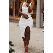 Lovely Casual Side Split White Knee Length Dress(W