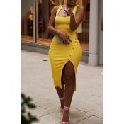 Lovely Work U Neck Side Split Yellow Knee Length Dress(With Elastic)