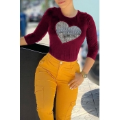 Lovely Casual Hot Drilling Decorative Wine Red T-s