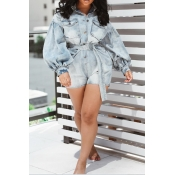 Lovely Trendy Buttons Design Blue One-piece Romper