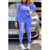Lovely Casual Printed Blue Two-piece Pants Set