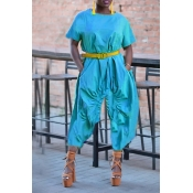 Lovely Casual Loose Blue One-piece Jumpsuit(Withou