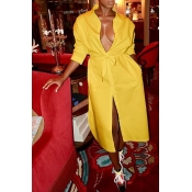 Lovely Casual Turndown Collar Yellow Mid Calf Dres