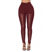 Lovely Trendy Hollow-out Bandage Design Wine Red Pants