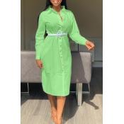 Lovely Sweet Turndown Collar Buttons Design Green Mid Calf Dress(Without Belt)