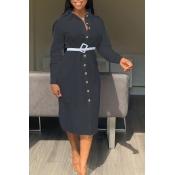 Lovely Sweet Turndown Collar Buttons Design Black Mid Calf Dress(Without Belt)