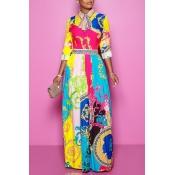 Lovely Sweet Turndown Collar Printed Multicolor Fl