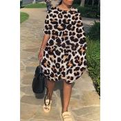 Lovely Polyester Casual Leopard Regular sleeve Str