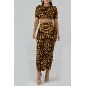 Lovely Casual Leopard Printed Yellow Two-piece Skirt Set