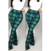 Lovely Work Plaid Printed Green Pants