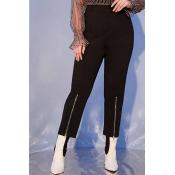 Lovely Casual Zipper Design Black Plus Size Leggin