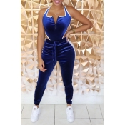 Lovely Casual Patchwork Blue One-piece Jumpsuit