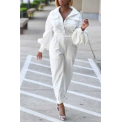 Lovely Trendy Pocket Patched White One-piece Jumps