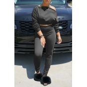 Lovely Chic Off The Shoulder Basic Black Two-piece