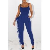 Lovely Trendy Tassel Design Blue One-piece Jumpsuit