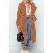 Lovely Casual Winter Long Light Camel Coat