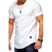 Lovely Casual O Neck Ruffle Design White T-shirt