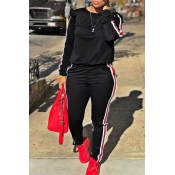Lovely Casual Striped Flounce Design Black Two-piece Pants Set
