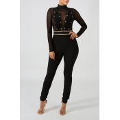Lovely Trendy See-through Patchwork Black One-piece Jumpsuit