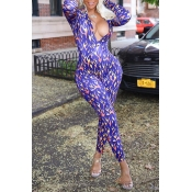 Lovely Chic Deep V Neck Printed Blue One-piece Jumpsuit
