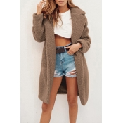 Lovely Trendy Winter Long Light Tan Coat