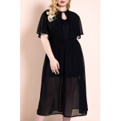 Lovely Casual Black Mid Calf Plus Size Dress