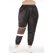 Lovely Casual Patchwork Black Plus Size Pants
