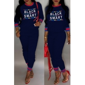 Lovely Casual Letter Printed Dark Blue Two-piece Pants Set