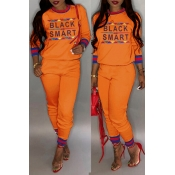 Lovely Casual Letter Printed Orange Two-piece Pants Set