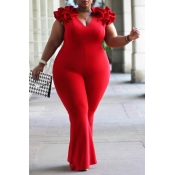 Lovely Casual V Neck Red Plus Size One-piece Jumps