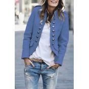 Lovely Button Design Blue Coat